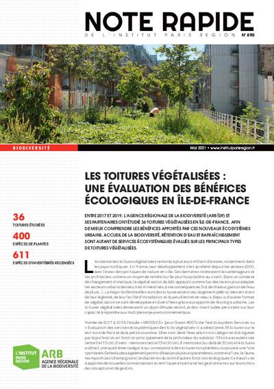 Les toitures végétalisées : une évaluation des bénéfices écologiques en Île-de-France